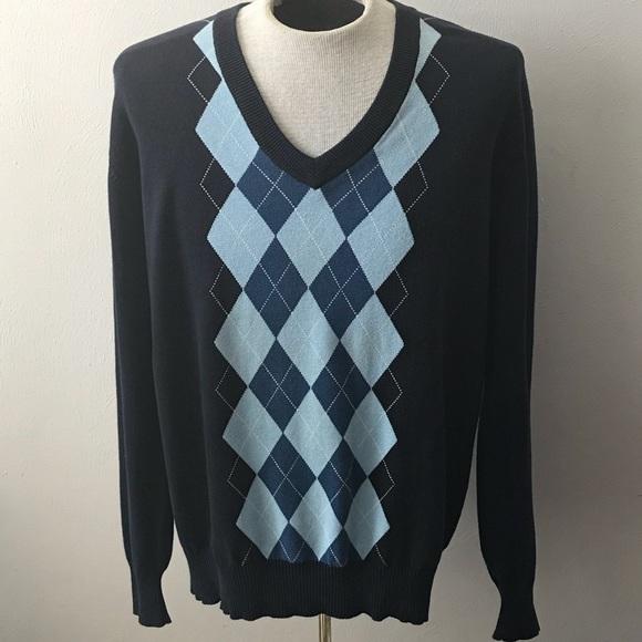 c505ce5a9 Jed Sweaters | Sweater Pullover Blue Vneck Argyle Sweater L | Poshmark